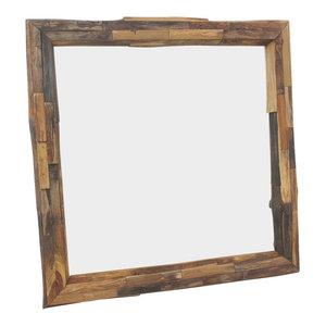 """Haussmann Mirror With Ne Teak Branches 30"""" Sq (21""""x21 View) Tung Oil Finish"""
