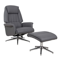 Elegant Recliner With Footstool, Soft and Padded Faux Leather Upholstery, Charco