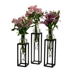 Set of 3 Amphorae Vases on Square Tubing Metal Stands, Clear