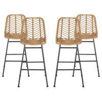 Angela Outdoor Wicker Barstools, Set of 4, Brown