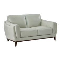 Rio 100% Top Grain Leather Loveseat Dove Gray