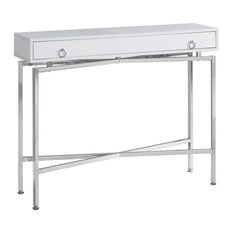 Pemberly Row Console Table In Glossy White And Chrome