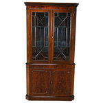 Niagara Furniture - Large Mahogany Corner Closet/Cabinet - This double door, Large Mahogany Corner Closet by Niagara Furniture is manufactured from kiln dried, plantation grown, mahogany, and features figured mahogany veneers on the door fronts.  The attention to detail and expert craftsmanship is apparent in the hand carved solid mahogany details throughout this china closet. The top section has a mirrored back, glass shelves, solid mahogany door frames and lattice work creating a perfect setting to display your treasured valuables. The lower section of the Large Mahogany Corner Cabinet features a wooden shelf and closed additional storage space. This high quality china closet comes in two part construction for ease of transportation and installation.