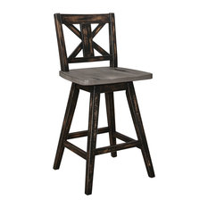 Kaden Dining Room Collection, Counter Height Dining Swivel Chairs, Set of 2, Bla