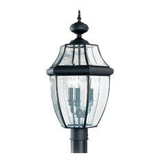 Sea Gull Lighting 3-Light Outdoor Post Lantern, Black