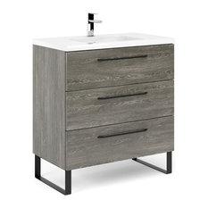Denver 32-inch Bathroom Vanity 32-inchx18-inchx35-inch WF446 Charred Oak