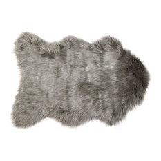 "24"" x 36"" x 1.5"" Gray Sheepskin Fur Single Area Rug"