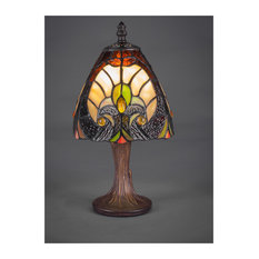 "One Light 6.25"" Mini Table Lamp Dark Granite Autumn Leaves Tiffany"