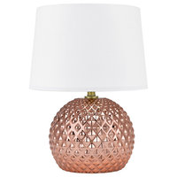Blush Faceted Table Lamp With Nightlight