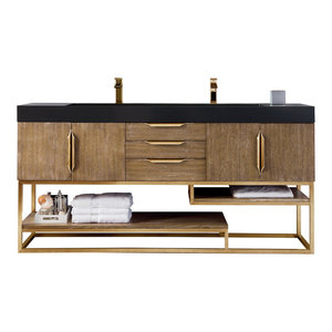 "Columbia 72"" Double Vanity Latte Oak Radiant Gold w/ White Solid Surface Top"
