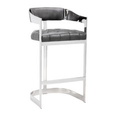 Modern Stool With Tapered Arms Gray Bar Height
