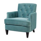 Kelly Velvet Tufted Accent Arm Chair, Arctic Blue
