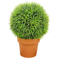 """Potted Two-Tone Artificial Pine Ball Topiary Plant, 18"""""""