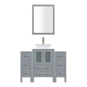 "48"" Modern Bathroom Vanity Set, Mirror and Sink LV2-C4-48-G, Gray"