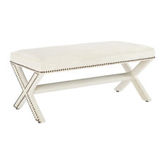 Unique Upholstered Bench, X-Shaped Legs With Elegant Nailhead Trim, Ivory