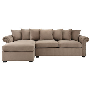 Traditional Modern L Shape Sectional Sofa Velvet Fabric
