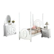 Flora 4-Piece Bedroom Set, White, Full