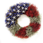 Botanical Splash - Stars & Stripes - This All-American wreath is perfect for ANY summer celebration, including Memorial Day, the 4th of July and Labor Day! Composed of Artemisia with Blue Sinuata Statice, Red Bloom Broom, German Statice and 13 Sugar Starfish. This wreath will give you many years of enjoyment indoors or outdoors in a protected location. All products are made by hand when you order on our Pacific Northwest farm. We grow and dry most of the ingredients used in our wreaths. Our designs are opulent, hand-made and American grown!