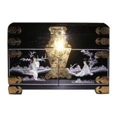 Black Lacquer Oriental Jewelry Box Inlaid With Mother of Pearl, Mirror and Silk