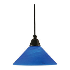 "Cord Mini Pendant In Black Copper Finish With 10"" Blue Italian Glass (22-BC-435)"
