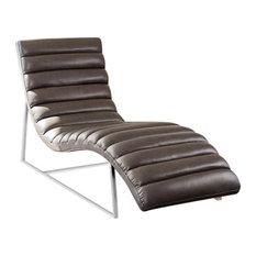 Diamond Sofa Bardot Chaise Lounge With Stainless Steel Frame, Elephant Gray