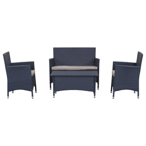 Safavieh Mendoza Outdoor Dining Set, 4-Piece, Titanium and Sand