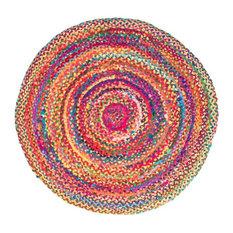 Rainbow Braided Round Rug, Large