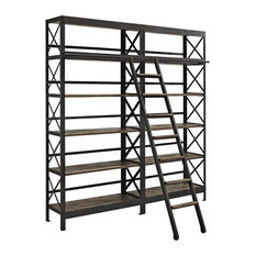 Industrial Modern Bookshelf Solid Pine Wood And Iron Metal Frame Ladder
