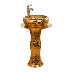 Roman Ceramic Bathroom Sink Set With Gold Faucet