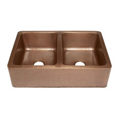 Copper Farmhouse Hammered Apron Sink, Double