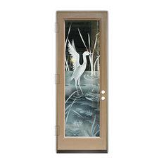 Sans Soucie Art Glass - Glass Front Entry Door Sans Soucie Art Glass Crane II 2D - Front Doors