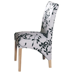 Full Back Upholstered Oak Dining Chairs, Flock Fabric, Set of 2