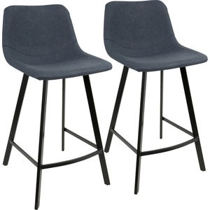Outlaw Industrial Counter Stool in Black With Blue Pu, Set of 2