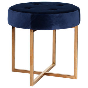 Sensational Round Upholstered Tufted Accent Stool With Gold Base Pdpeps Interior Chair Design Pdpepsorg