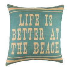 """""""Life is Better at the Beach"""" Burlap Pillow, Blue"""