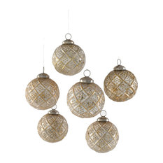 Set of Gold / Red / Antique White Glass Ball Ornaments, Set of 6-Antique White