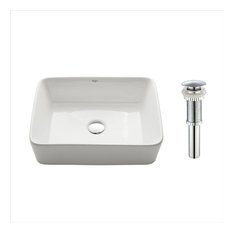 Elavo Ceramic Rectangle Vessel White Sink, PU Drain Chrome