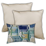 Joita Home - Living On The Riviera Indoor/Outdoor, Zippered Pillow Cover with Insert, 3-Pc - This ocean-side collection brings beach houses, cabanas, beach chairs, and the feel of your toes in the warm sand right to your home. The comfy lumbar pillow with seashells and tropical fish is the perfect accompaniment to the nautical themed colors of our navy, teal and gold jumbo pillows, complete with anchors, navy and white stripes, and the soothing hues of emerald green and aqua. Transform your outdoor area into a seaside retreat! Distinctive design and top quality workmanship will never disappoint. UV and mildew resistant. Zipper Covers with Inserts. Unique designer outdoor item perfect for your poolside, lanai, patio, deck, balcony, terace, veranda, mezzanine, porch.