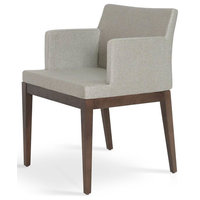 Wood Armchair, Gray Brick With American Walnut Base