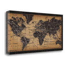 """""""Old World Map"""" By Pela Studio,Ready to Hang Giclee Print on Gallery Wrap Canvas"""