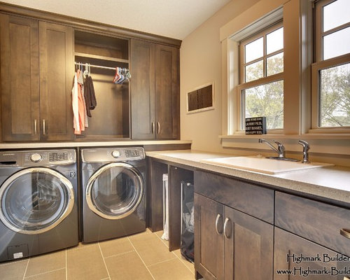 Mid Sized Transitional L Shaped Ceramic Floor Dedicated Laundry Room Photo  In Minneapolis With Part 93