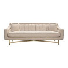 Diamond Sofa Croft Fabric Sofa, Sand Linen Fabric, Gold Metal Criss-Cross Frame