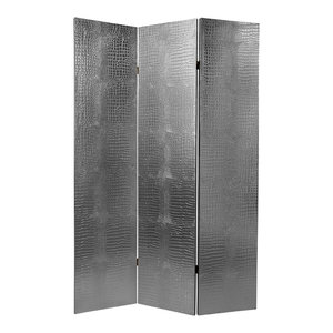 6' Tall Faux Leather Silver Crocodile Room Divider