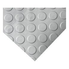 Rubber-Cal Coin-Grip Metallic PVC Flooring, Silver, 2.5mm, 4'x5'