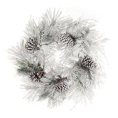 """Pine Christmas Wreath 24"""" Snow Covered Huge Cones Front Door"""