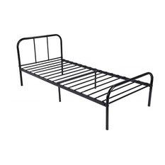 Traditional Bed Frame, Black Finished Metal With Headboard and Footboard