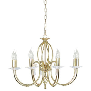 Traditional Polished Brass 8-Arm Chandelier With Cut Glass