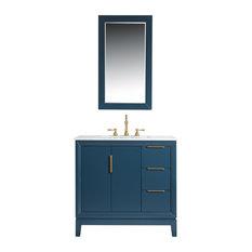 "Elizabeth 36"" Single Sink Carrara White Marble Vanity, Monarch Blue"