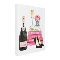 "Glam Pink Fashion Book, 16""x20"", Stretched Canvas Wall Art"