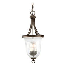 Three Light Foyer Antique Bronze Seeded Glass